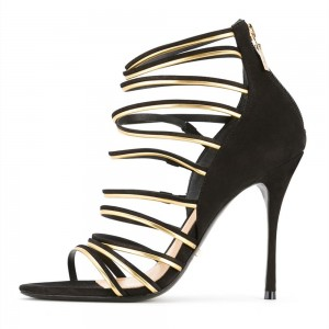 Black Multi-strips Open Toe Stiletto Heels Sandals