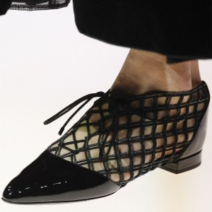 Black Nets Lace up Pointy Toe Flats Comfortable Shoes
