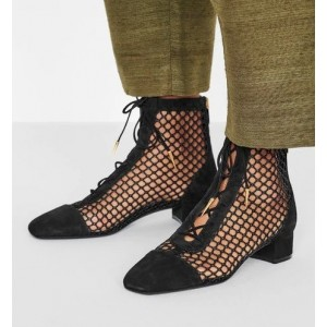 Black Nets Lace Up Summer Boots Block Heel Ankle Boots