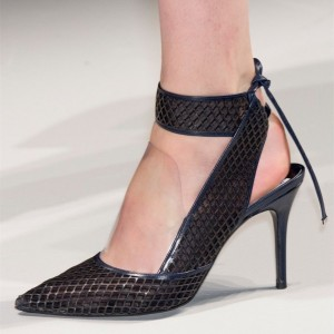 Black Nets Stiletto Heels Pointy Toe Slingback Pumps