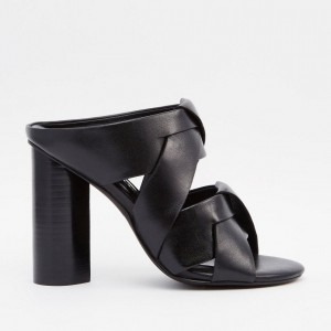 Women's Lelia Black Peep Toe Chunky Heels Dress Shoes Mules Sandals