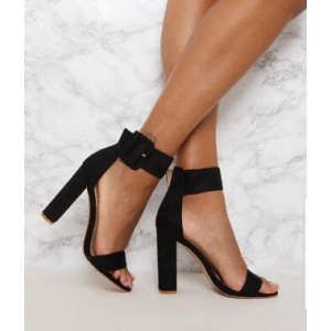 Black Open Toe Chunky Heels Buckle Ankle Strap Sandals