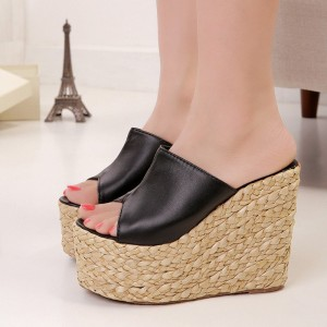 Black Platform Heels Mule Peep Toe Wedge Sandals for Women