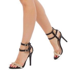 Black Open Toe Stiletto Heels Ankle Strap Sandals with Chains