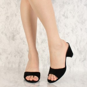 Black Open Toe Suede Chunky Heel Mules Sandals