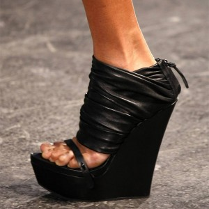 Black Open Toe Wedge Heel Platform Sandals Fashion Boots