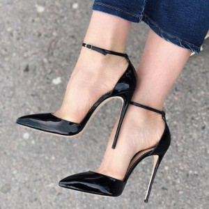 Black Patent Leather Ankle Strap Heels Pointy Toe Stiletto Heel Pumps