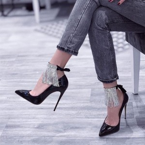 Black Patent Leather Ankle Strap Heels Fringe Pumps