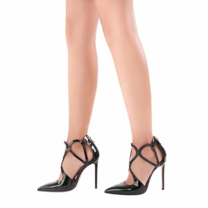 Black Patent Leather Office Heels Pointy Toe Sexy Stiletto Heel Pumps