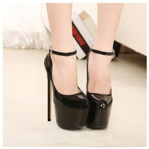 Black Stripper Heels Ankle Strap Patent Leather Platform Pumps