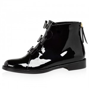 Black Patent Leather Bow Flat Ankle Boots