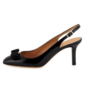 Black Patent Leather Bow Stiletto Heel Slingback Pumps