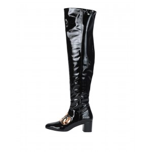 Black Patent Leather Buckle Chunky Heel Boots Over the Knee Boots