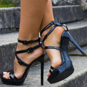 Black Patent Leather Stiletto Heels Buckles Platform Sandals