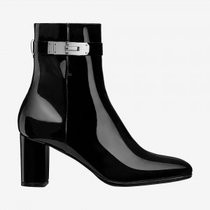 Black Patent Leather Chunky Heel Boots Round Toe Lock Ankle Booties