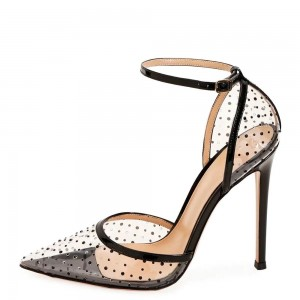 Black Patent Leather Clear PVC Polka Dots Ankle Strap Heels Pumps