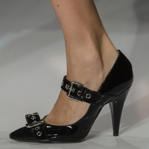 Black Patent Leather Cone Heels Buckle Mary Jane Pumps