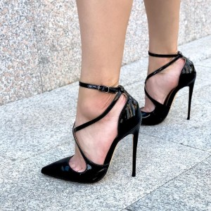Black Patent Leather Cross Over Stiletto Heels Pumps