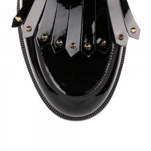 Black Patent Leather Fringe Rivets Loafers for Women