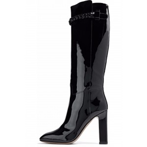 Black Patent Leather High Heel Boots Knee-high Boots