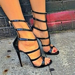 Black Patent Leather Vegan Shoes Open Toe Stiletto Heel Sandals