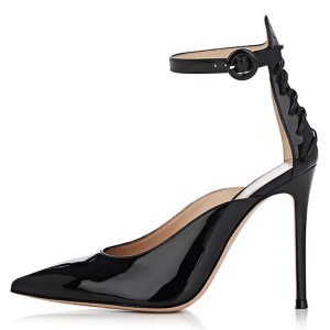 Black Patent Leather Lace Up Ankle Strap Heels Pumps