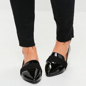 Black Patent leather Loafers for Women Almond Toe Flats