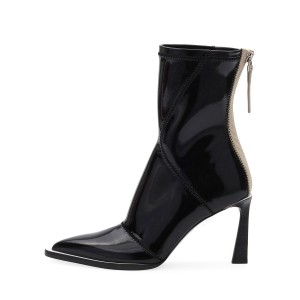 Black Patent Leather Pointy Toe Chunky Heel Women's Ankle Boots