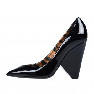 Black Patent Leather Pointy Toe Office Heels Cone Heel Pumps