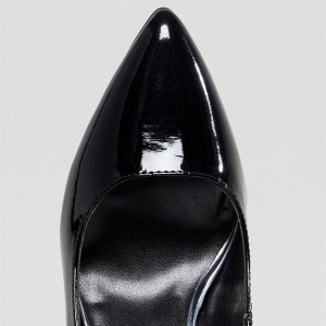 Black Patent Leather Pointy Toe Stiletto Heel Mary Jane Pumps