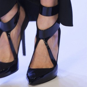 Black Patent Leather Pointy Toe Stiletto Heels Office Shoes for Women