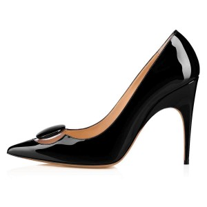 Black Patent Leather PVC Pointy Toe Stiletto Heels Pumps