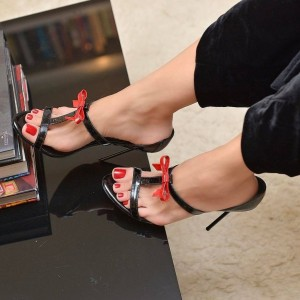 Black Patent Leather Red Bow Stiletto Heel T Strap Sandals