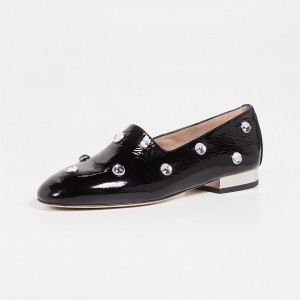 Black Patent Leather Rhinestone Loafers for Women