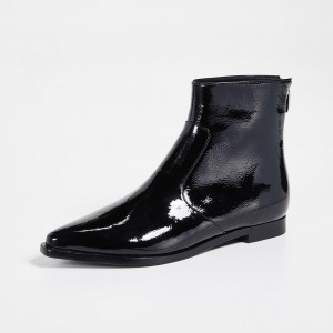 Black Patent Leather Round Toe Flat Ankle Booties with Zipper