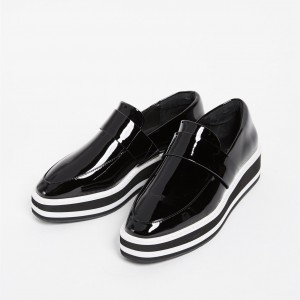 Black Patent Leather Round Toe Platform Loafers for Women