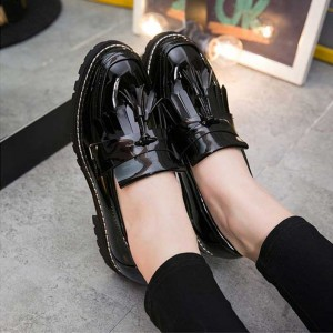Black Patent Leather Square Toe Fringe and Tassel Loafers for Women