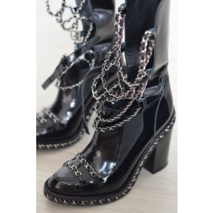 Black Patent Leather Strappy Metal Chains Chunky Heel Ankle Booties