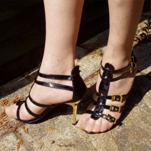 Black Patent Leather T Strap Sandals Buckles Gladiator Heel Sandals