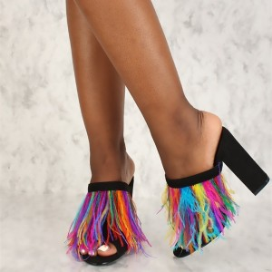Black Peep Toe Colorful Feather Chunky Heels Mules Sandals