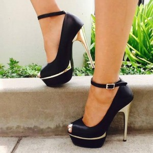 Black Peep Toe Stilettos Platform Ankle Strap Heels Pumps