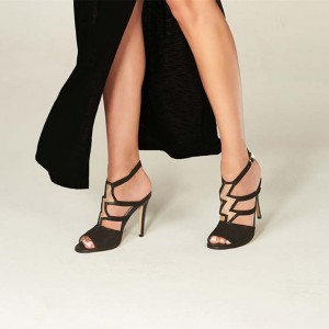 Black Peep Toe Thunder Style Stiletto Heels Slingback Sandals