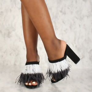 Black Peep Toe White Feather Chunky Heels Mules Sandals