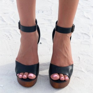 Retro Black Block Heel Sandals Peep Toe Ankle Strap Platform Heels
