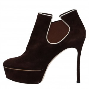 Dark Brown Platform Boots Chelsea Stiletto Heel Ankle Boots