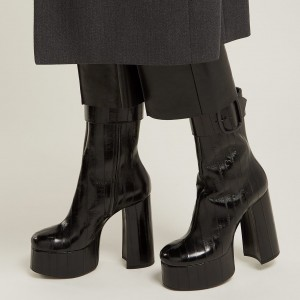 Black Platform Boots Chunky Heel Buckle Ankle Boots
