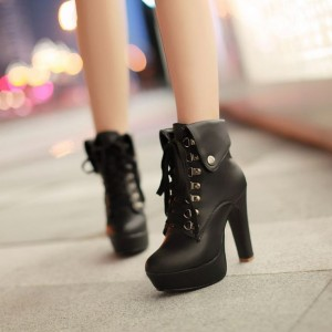 Black Platform Chunky Heel Boots Lace Up Ankle Booties
