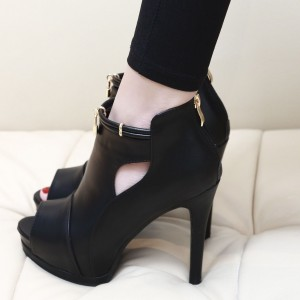 Fashion Black Peep Toe Booties High Heels Shoes With Platform