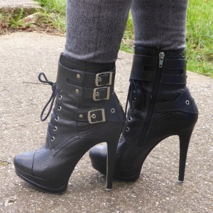 Black Platform Lace Up Boots Buckles Stiletto Heel Ankle Boots