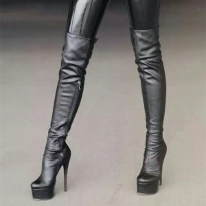 Black Platform Stiletto Boots Sexy Over-the-Knee Boots for Women